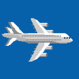 Pixel airplane. Pixel art vector illustration of airplane. Airline service. Flying air passenger transport Stock Photo