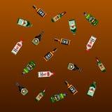 Pixel alcohol pattern. 8-bit art Stock Image