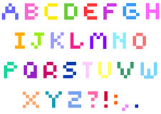 Pixel alphabet. Set of colorful pixel alphabet Stock Illustration