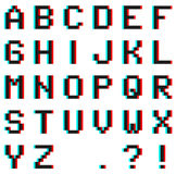 Pixel alphabet with Anaglyph 3D effect Stock Image