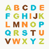 Pixel alphabet. With colored letters for design Stock Illustration