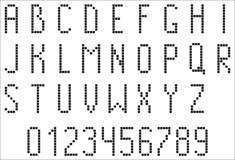 Pixel alphabet and figures Royalty Free Stock Image
