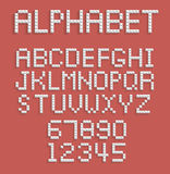 Pixel alphabet of numbers and letters Royalty Free Stock Images