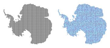 Pixel Antarctica Map Abstractions. Circle dot Antarctica map variants. Vector territory schemes in black color and cold blue color hues. Abstract mosaic of vector illustration