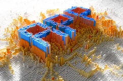 Pixel App Concept. A 3D render of a microscopic closeup concept of small cubes in a random layout that build up to form the word APP illuminated Stock Photos