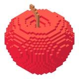 Pixel apples icon, isometric 3d style Stock Photo