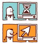 Pixel arrow & hourglass Stock Images