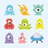 Pixel art aliens set Royalty Free Stock Image