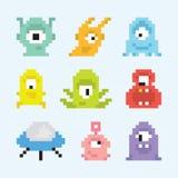 Pixel art aliens  vector set. Pixel art style aliens  vector set Royalty Free Stock Images