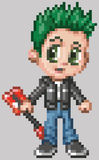 Pixel Art Anime Punk Rocker Boy. A punk rocker boy illustrated in an anime or manga style, rendered as pixel art (in vector art blocks). he has green hair, green vector illustration