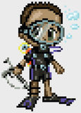 Pixel Art Anime Scuba Diver Boy. A scuba diver boy illustrated in an anime or manga style, rendered as pixel art (in vector art blocks). He has dark brown hair vector illustration