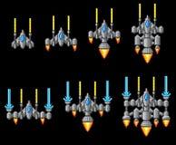 Pixel Art Arcade Video Game Spaceship Imagenes de archivo