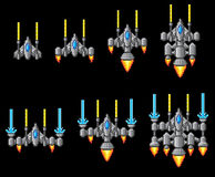 Pixel Art Arcade Video Game Spaceship Stock Images