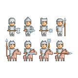 Pixel art army of knights and horsemen. Vector pixel art army of knights and horsemen Royalty Free Stock Photography
