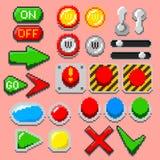 Pixel art arrows, buttons, 8-bit elements. Pixel art arrows, buttons, pilot lights, pointers, game elements, navigation icons, notification lights. 8-bit styled stock illustration