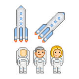 Pixel art astronauts and rockets. For design Royalty Free Stock Images