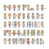 Pixel art athletes and different sports Royalty Free Stock Photos