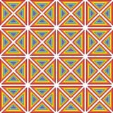 Pixel art pattern rainbow triangles ornament. Pixel art background rainbow triangles ethno ornament shevitsa - red, orange, yellow, green, blue, purple vector illustration