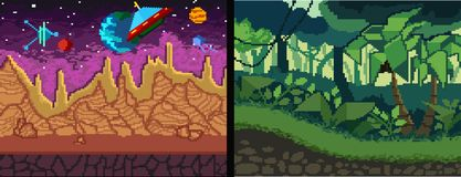 Pixel art backgrounds set. Pixel Jungle and space theme for game royalty free illustration