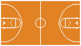 Pixel art basketball sport court layout retro 8 Imagens de Stock