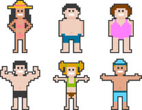 Pixel art beach people set 2 Royalty Free Stock Photo