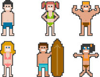 Pixel-art beach people set 1 Stock Photography
