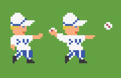 Pixel art 8bit baseball player in white uniform Royalty Free Stock Photography