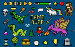 Pixel art 8 bit objects. Retro game assets. Set of icons. vintage computer video arcades. characters dinosaur pony. Rainbow unicorn snake dragon monkey and royalty free illustration