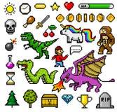 Pixel art 8 bit objects. Retro game assets. Set of icons. vintage computer video arcades. characters dinosaur pony. Rainbow unicorn snake dragon monkey and vector illustration