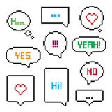Pixel art 8-bit speech bubble set Royalty Free Stock Photos