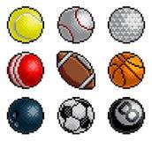 Pixel Art 8 Bit Video Arcade Game Sport Ball Icons stock illustration