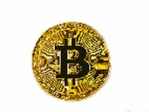 Pixel art bitcoin. 8 bit royalty free stock photography