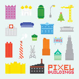 Pixel art buildings vector set royalty free illustration