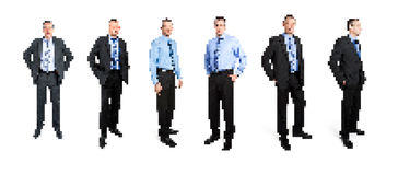 Pixel art business man. A set of pixel art business man stock photos