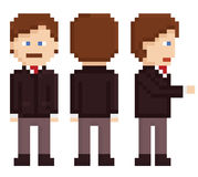 Pixel art businessman sprite staying, back and. Hand shake isolated on white Royalty Free Stock Images