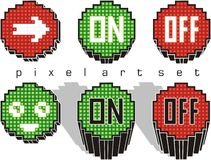 Pixel art buttons Royalty Free Stock Image