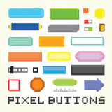 Pixel art buttons vector set Royalty Free Stock Photo