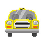 Pixel art car. Pixel art of front view of yellow car (taxi). Vector icon illustration isolated on white background Royalty Free Stock Image