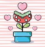 Pixel art carnivore flower in tub. Cartoon vector illustration graphic design royalty free illustration