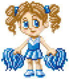 Pixel Art Cheerleader. A cheerleader girl illustrated in a japanese cartoon style, rendered as pixel art (in vector art blocks). Each pixel block is editable royalty free illustration