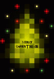 Pixel art Christmas card design. Vector illustration. Eps10. Stock Images