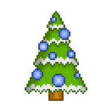 Pixel art christmas tree with ornaments. For design Stock Illustration