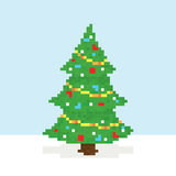 Pixel art christmas tree vector postcard Stock Photography