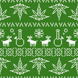 Pixel art christmas weed seamless vector background green stock illustration