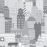 Pixel art city seamless vector pattern Royalty Free Stock Photo