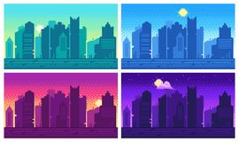 Pixel art cityscape. Town street 8 bit city landscape, night and daytime urban arcade game location. Pixels building or pixelated game architecture dark scene royalty free illustration