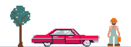 Pixel art clipart with car, tree and man. Vector illustration of car, tree and man stylized as a pixel art Royalty Free Stock Photos