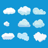 Pixel art clouds. Vector pixel art clouds collection Royalty Free Stock Photo