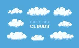 Pixel Art Clouds Fotografia Stock Libera da Diritti
