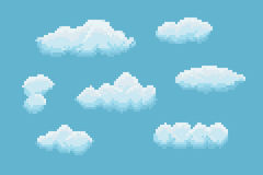 Pixel Art Clouds. Set of clouds with different size and shape Stock Images